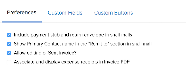 General Invoice Preferences