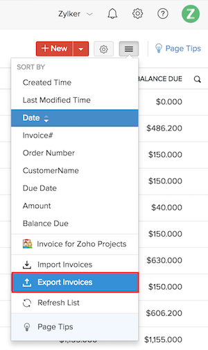 Export invoices Image