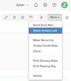 Sharing an invoice Link