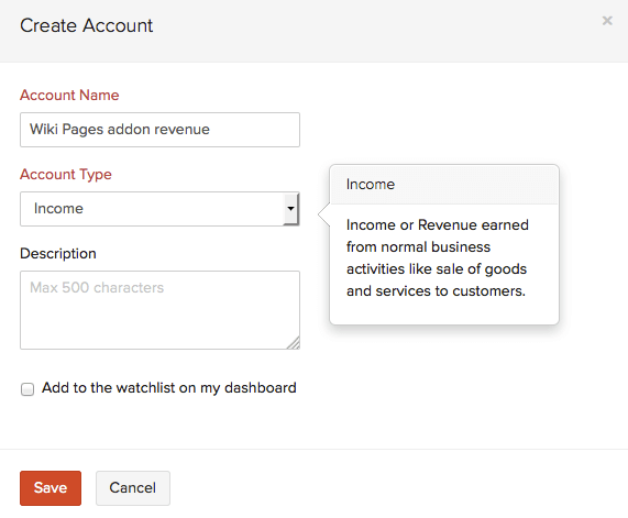 Create income account