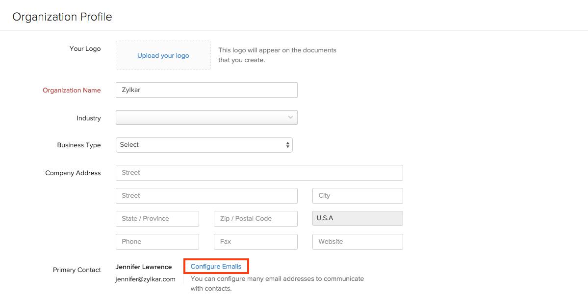 Configure emails
