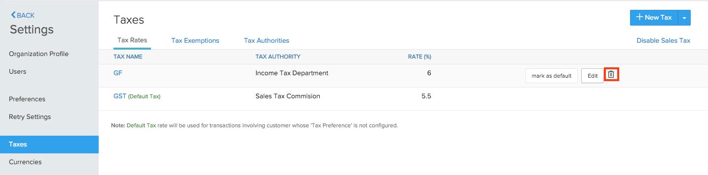 Deleting Tax