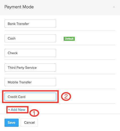 Create a new payment mode