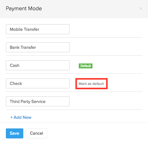 Default Payment Mode