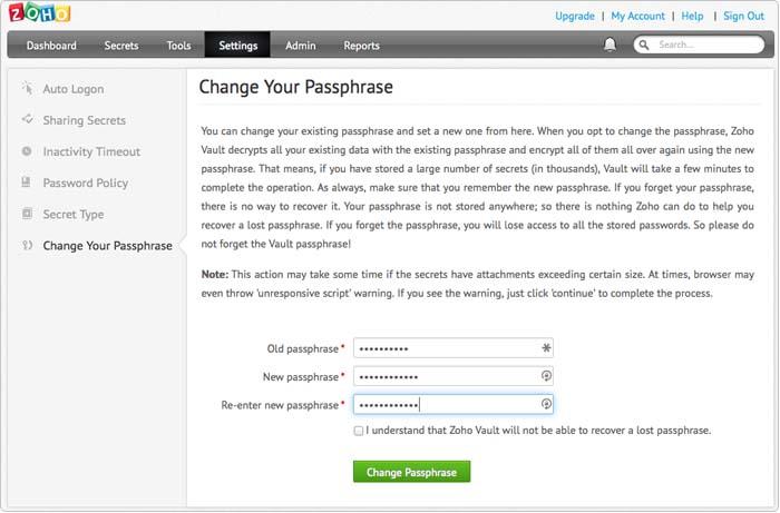 Change Your Passphrase
