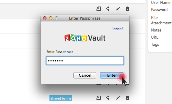 Zoho Vault firefox browser extension