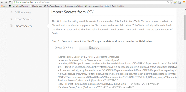 Import Secrets from CSV