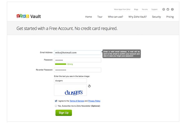 Password Vault Signup