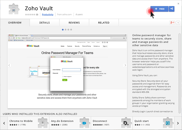 Zoho Vault Chrome browser extension