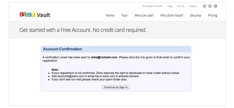 Confirming Account Creation